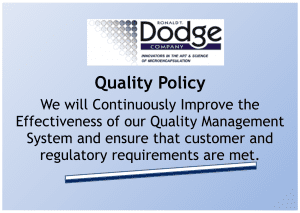 Ronald T. Dodge Quality Policy